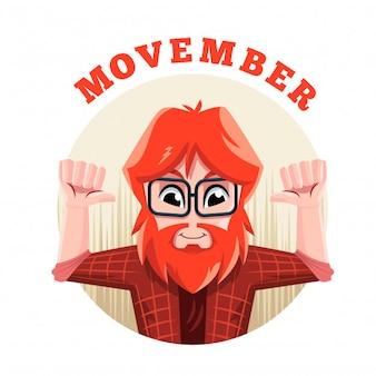 Hipster movember charakter