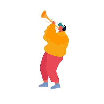 Hipster musician performing show auf der city street spielt trompete für fußgänger
