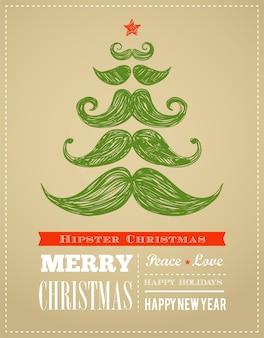 Hipster neujahr und frohe weihnachten, vektorillustration