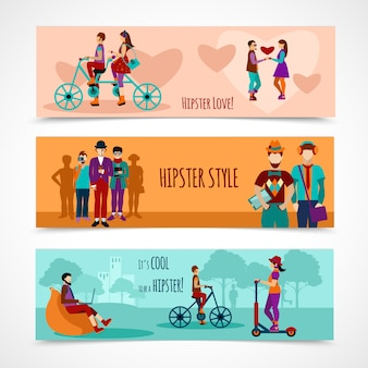 Hipster people flat banner set