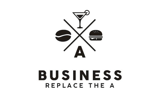 Hipster retro burger cafe logo