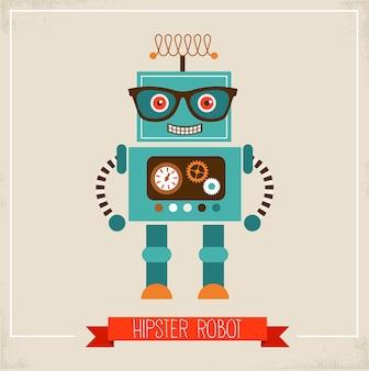 Hipster roboter spielzeug illustration