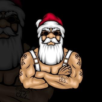 Hipster santa claus mit frohe weihnachten tattoo auf seinem arm
