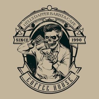 Hipster schädel barista