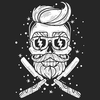 Hipster schädel friseur illustration