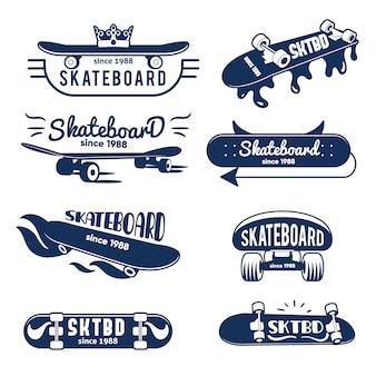 Hipster skateboard logo und abzeichen sammlung