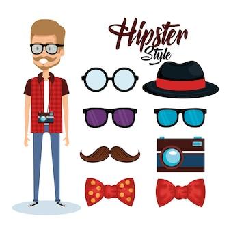 Hipster stil avatar mit zubehör