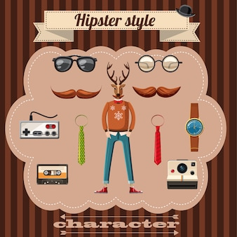 Hipster-stilattributkonzept. karikaturillustration von hippie-artattributen vector konzept für netz