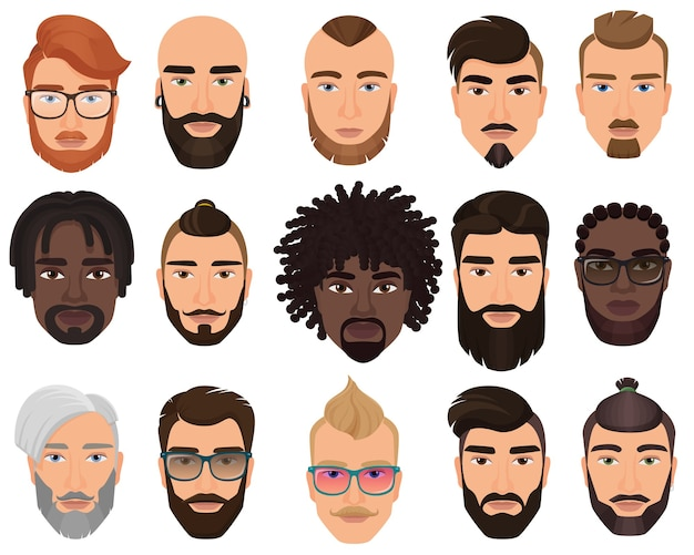 Hipster stilvolle bärtige männer mit verschiedenen farbfrisuren, schnurrbärten, bärten isoliert.