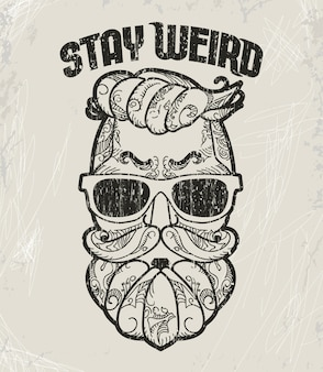 Hipster-t-shirt design, retro-style-grunge-print.
