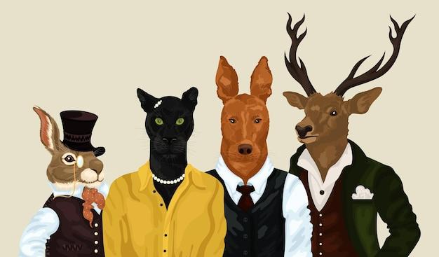 Hipster-tiere setzen menschenkunst-tierfiguren porträttiere in kleidungsmode