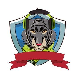 Hipster tiger coole skizze