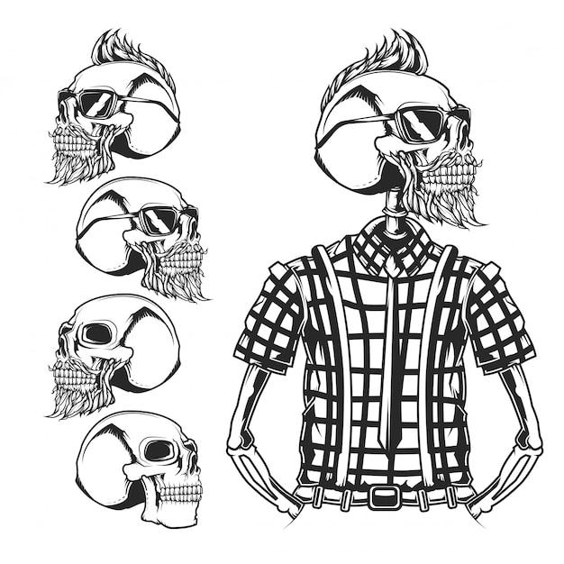 Hipster und totenköpfe