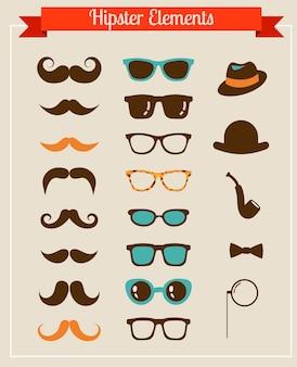 Hipster vintage retro-satz von ikonen und illustrationen