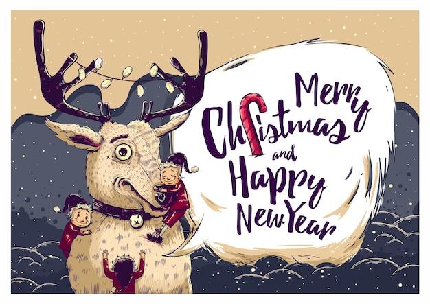 Hipster weihnachtsgrußkarte mit hirsch und elfen. vektorillustration