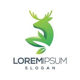 Hirsch blatt farbverlauf logo-design Premium Vektoren