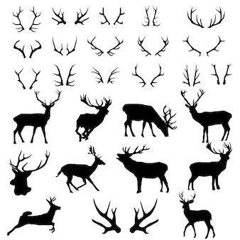 Hirsch geweih wald animal silhouette clipart