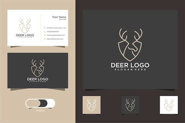 Hirsch-logo-design mit stilvollen linien