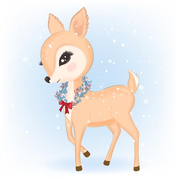 Hirsch mit kranz weihnachten in der weihnachtsillustration.
