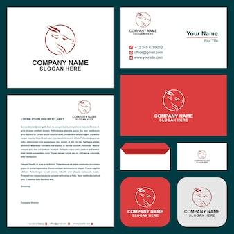Hirsch mit mond und logo moderne grafikdesign illustration und visitenkarte
