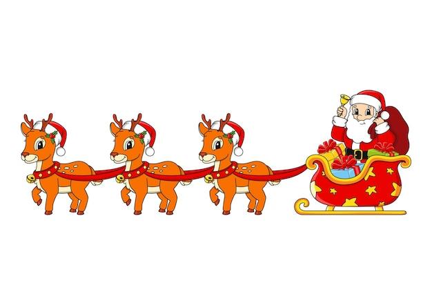 Hirsch mit weihnachtsschlitten