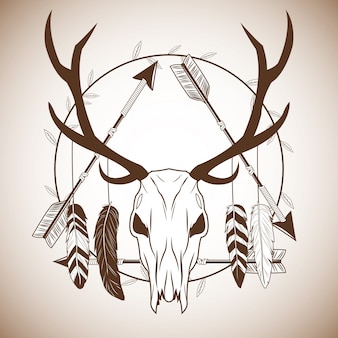 Hirsch schädel mit federn symbol