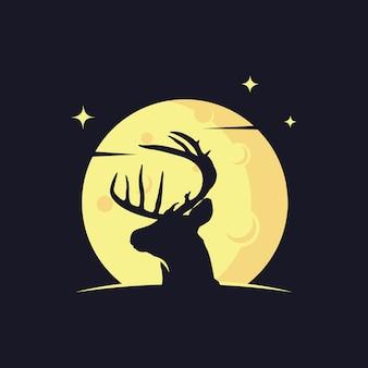 Hirsch silhouette gegen den mond
