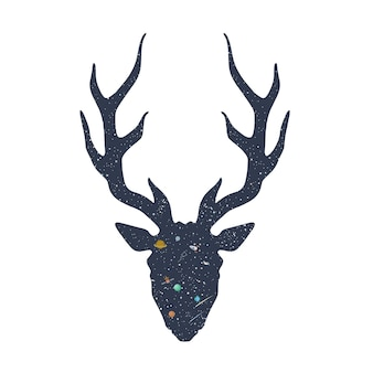 Hirsch-silhouette mit raumillustration