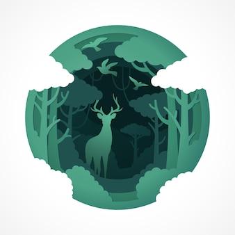 Hirsch-tierwelt mit papierschnittart des grünen öko-waldes