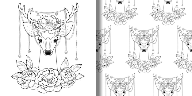 Hirsch- und pfingstrosendruck und nahtloses musterset zum ausmalen von t-shirts und textildrucken