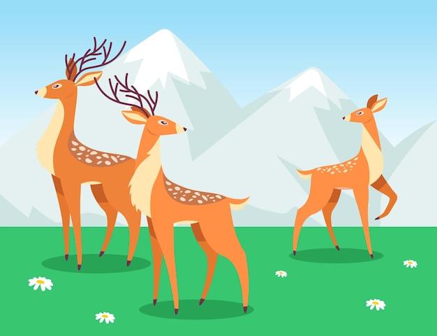 Hirsche grasen im cartoon-stil. hirschherde auf der wiese mit grünem gras und weißen blumen.