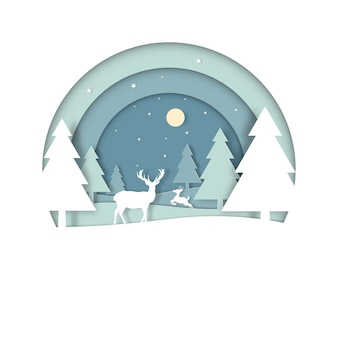 Hirsche im wald mit schnee in der wintersaison und frohen weihnachten. grußkarte in kreisansicht. papierkunst und digitaler bastelstil