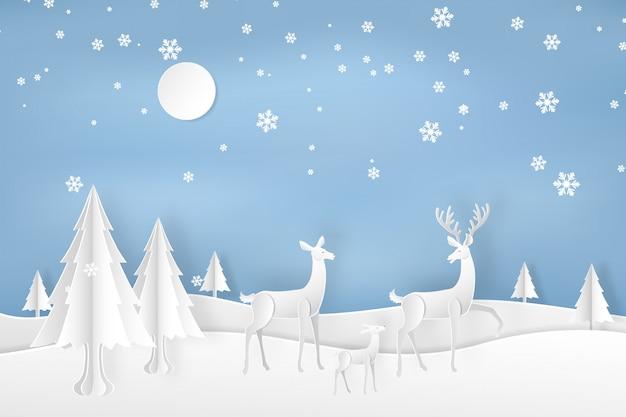 Hirsche im wald mit schnee