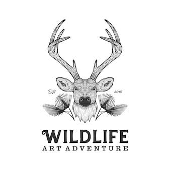 Hirsche-logoweinlese der wild lebenden tiere