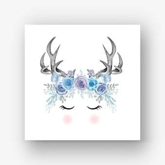 Hirschgeweih blume blaue aquarellillustration