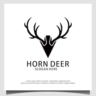 Hirschgeweih-pfeil-speer-jagd-logo-design