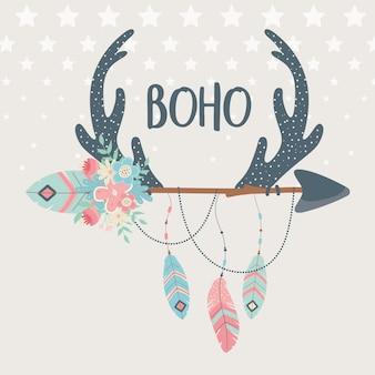 Hirschhörner mit blumen, federn und pfeilen boho-stil