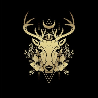 Hirschköpfe mit hörnern, mond und gepflanzten ornamenten. luxusillustration. ein symbol für mystische magie