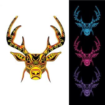 Hirschkopf aus abstrakten muster mit im dunkeln leuchten farbpalette