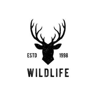 Hirschkopf designelement im vintage-stil für logotype