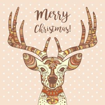 Hirschkopf mit ornament, frohe weihnachten