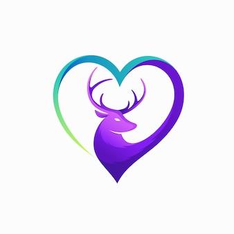 Hirschliebhaber-logo mit liebeskonzept Premium Vektoren