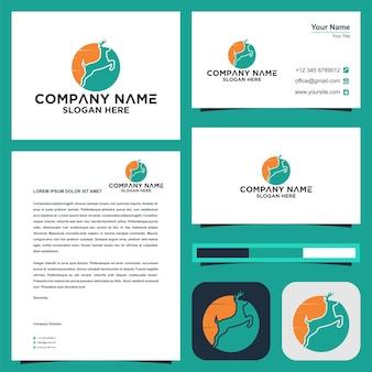 Hirschlogo abstraktes logo und visitenkarte