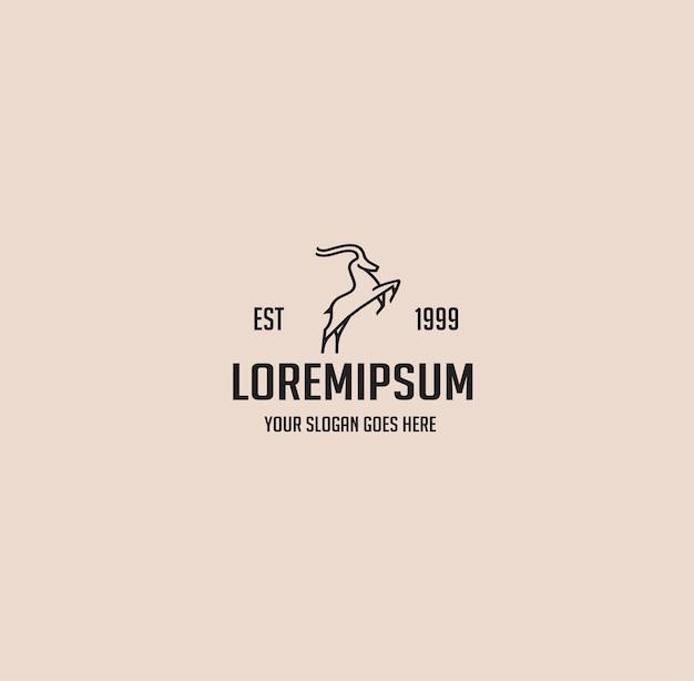 Hirschtier einfaches wildes vintage-monoline-logo