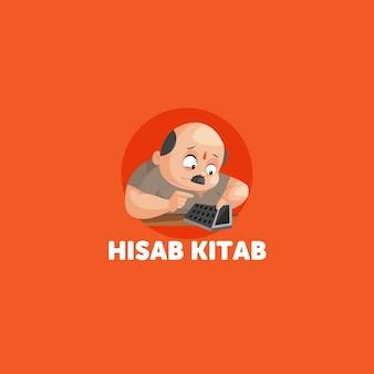 Hisab kitab indische vektor-maskottchen-logo-vorlage