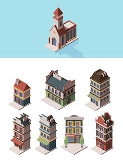 Historische gebäude. alte vintage 3d-häuser und retro-bauobjekte vector isometrische sammlung. abbildung historische alte vintage 3d-fassade, wohnblock leben