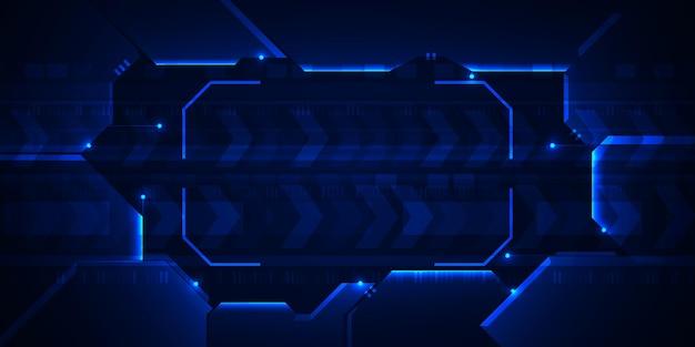 Hitech-technologie mit digitalem hintergrund mit blauem rahmen