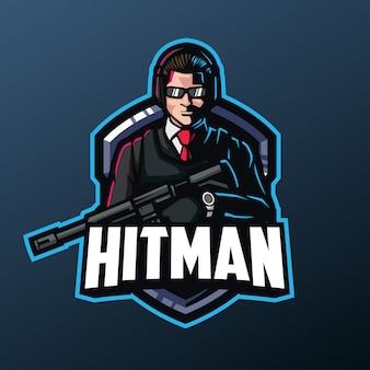 Hitman-maskottchen für sport- und esport-logo lokalisiert auf dunklem hintergrund