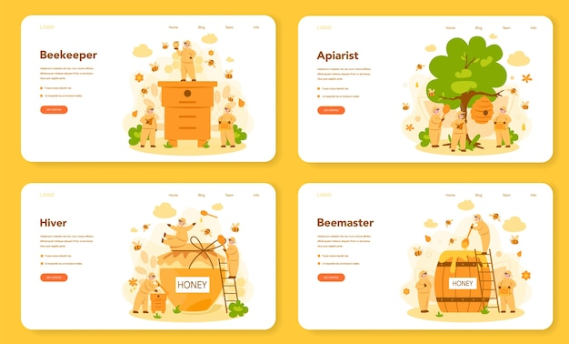 Hiver oder imker web banner oder landing page set. professioneller bauer mit bienenstock und honig. land bio-produkt. bienenhaus, imkerei und honigproduktion.