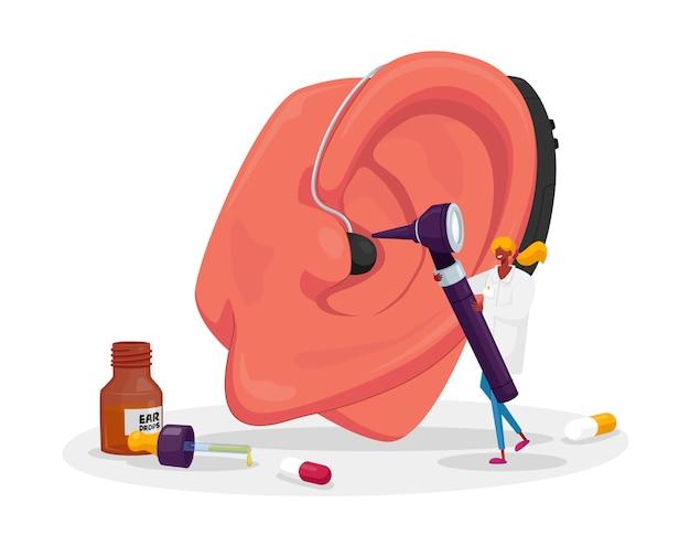 Hno-medizin, konzept der taubheitserkrankung. tiny ent doctor character untersucht riesiges patientenohr mit otoskop. hörverlust problem, taubheit, installation von gehörlosenhilfe. karikatur
